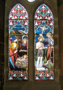 Stained glass window by Michael O'Connor in the chancel: the Nativity and Baptism of Christ.