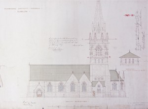 The south elevation of the church as proposed by Wyatt, including the un-built spire.